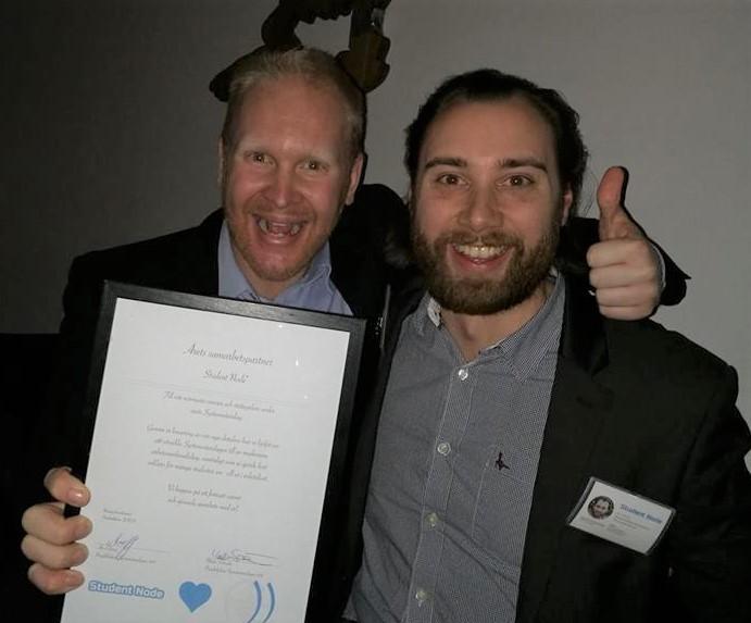 Erik och David på Student Node är glada över att ha blivit årets partner till Systemvetardagen.